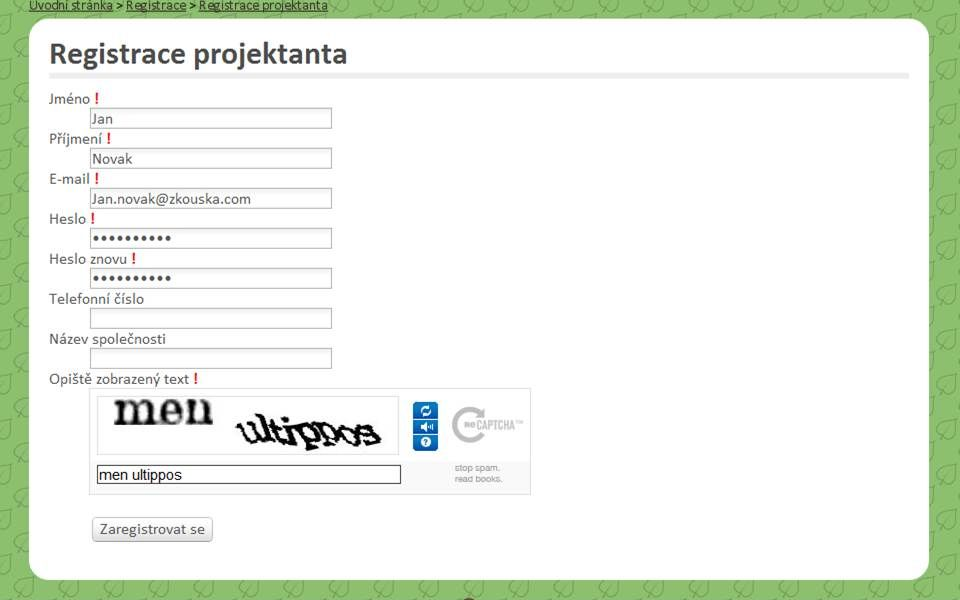 Registrace projektanta